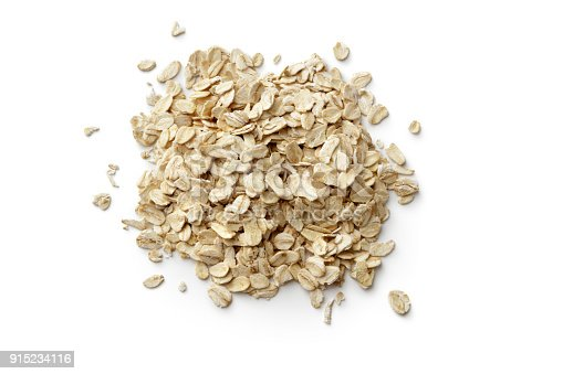 Breakfast Ingredients: Oats Isolated on White BackgroundBreakfast Ingredients: