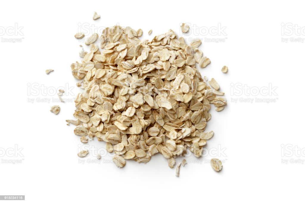 Breakfast Ingredients: Oats Isolated on White BackgroundBreakfast Ingredients: stock photo