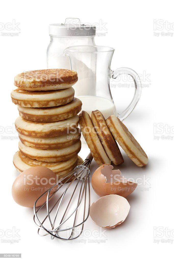 Breakfast Ingredients: Pancakes, Flour, Eggs and Milk Isolated on White royalty-free stock photo
