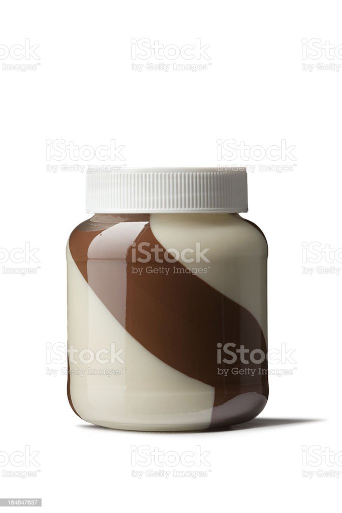 Breakfast Ingredients: Spread Mixed Chocolate Isolated on White Background royalty-free stock photo