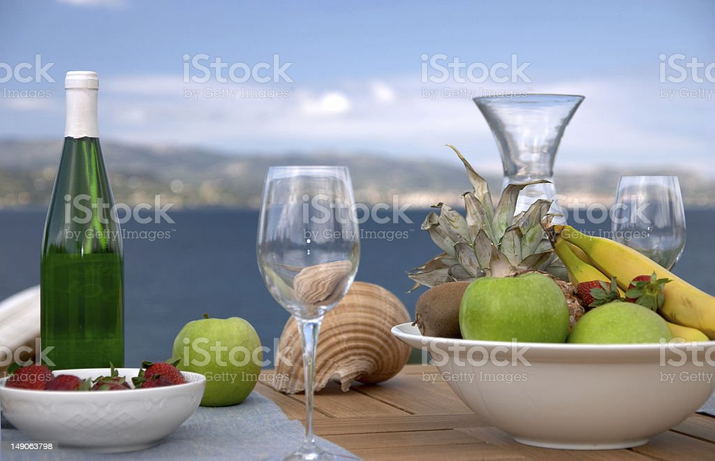Breakfast is served in Cephalonia island, Greece royalty-free stock photo