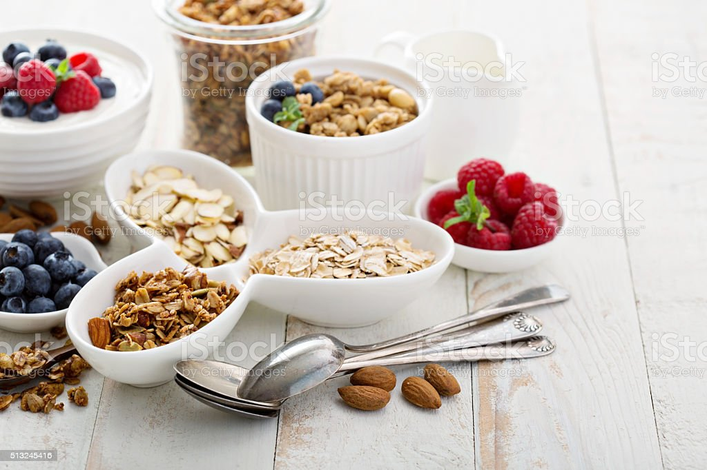 Breakfast items on the table stock photo