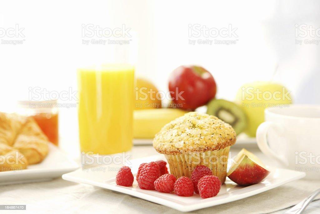 Breakfast -lemon  poppy seed muffin royalty-free stock photo