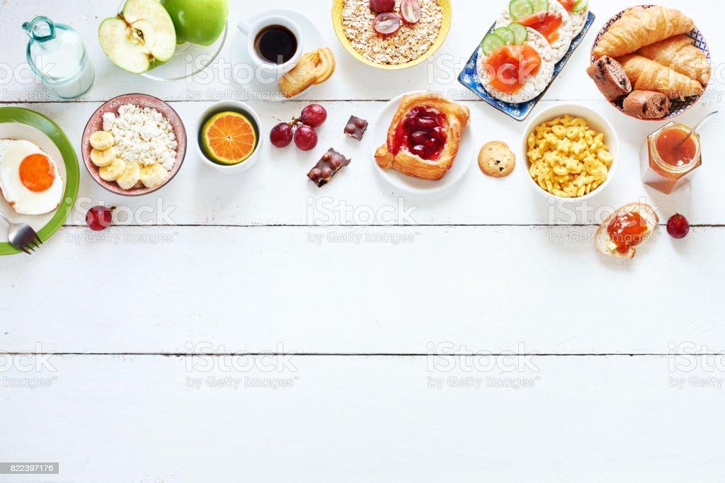 Frühstück-Menü-Essen-Frame mit einem Textfreiraum. – Foto