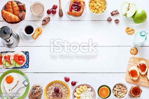 istock Breakfast menu food frame with a copy space. 822397414