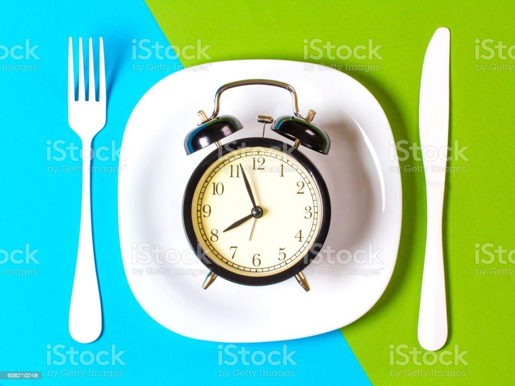 breakfast morning plate fork knife Cutlery Kitchen concept restaurant menu meal art background blue green stock photo