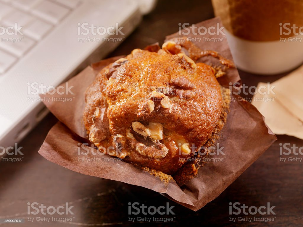 Breakfast Muffin at your Desk stock photo