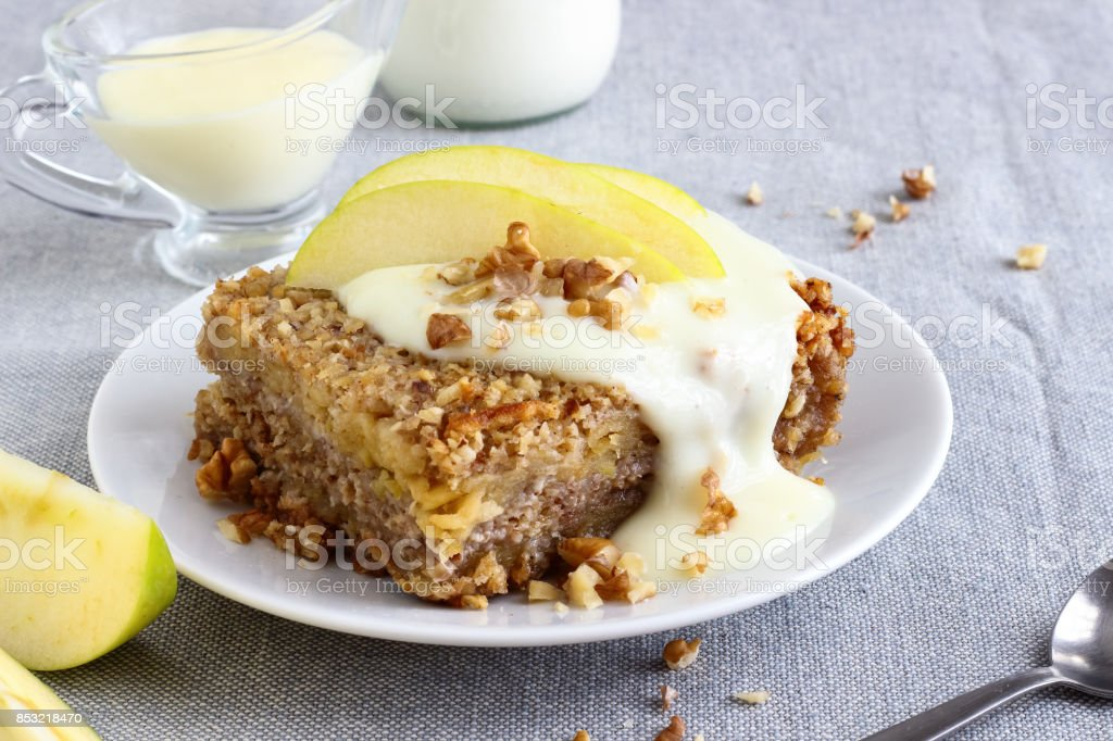 Breakfast Oatmeal Bake with Apples stock photo