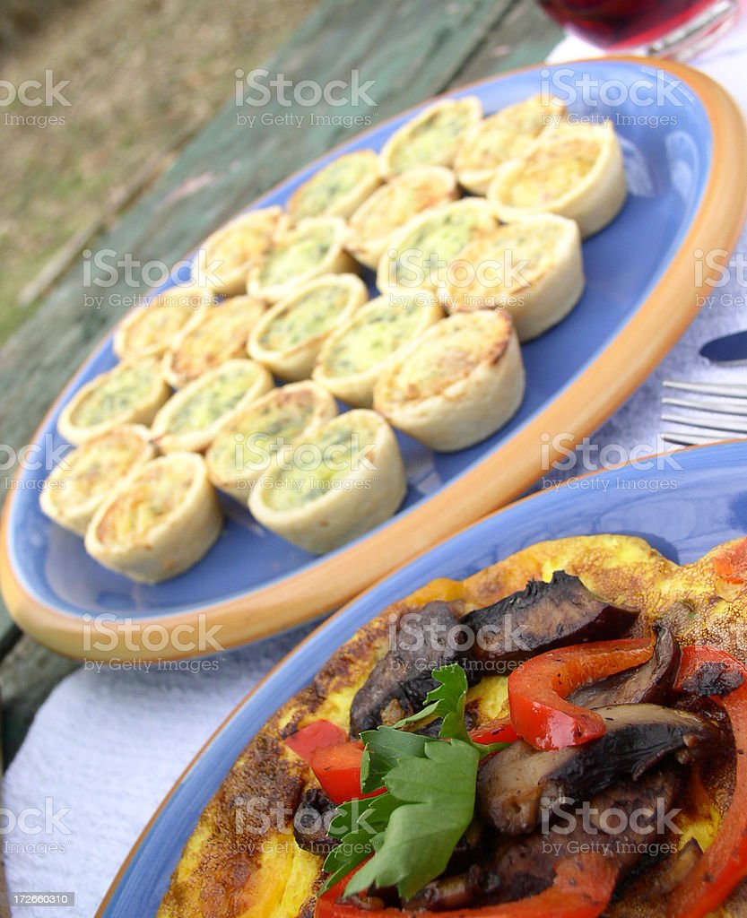 Breakfast  -  Omelette, Mini Quiches and Juice stock photo