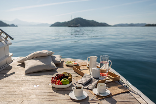 Breakfast on Motor Yacht