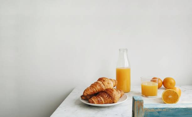 Breakfast on table stock photo