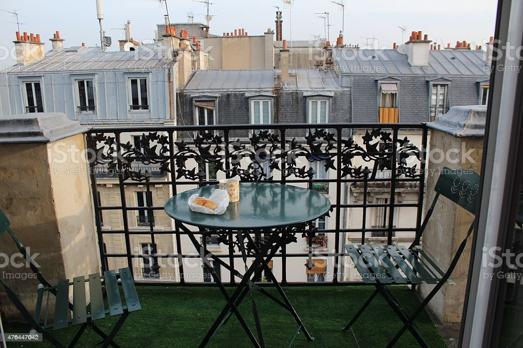 Breakfast on the balcony in Paris stock photo