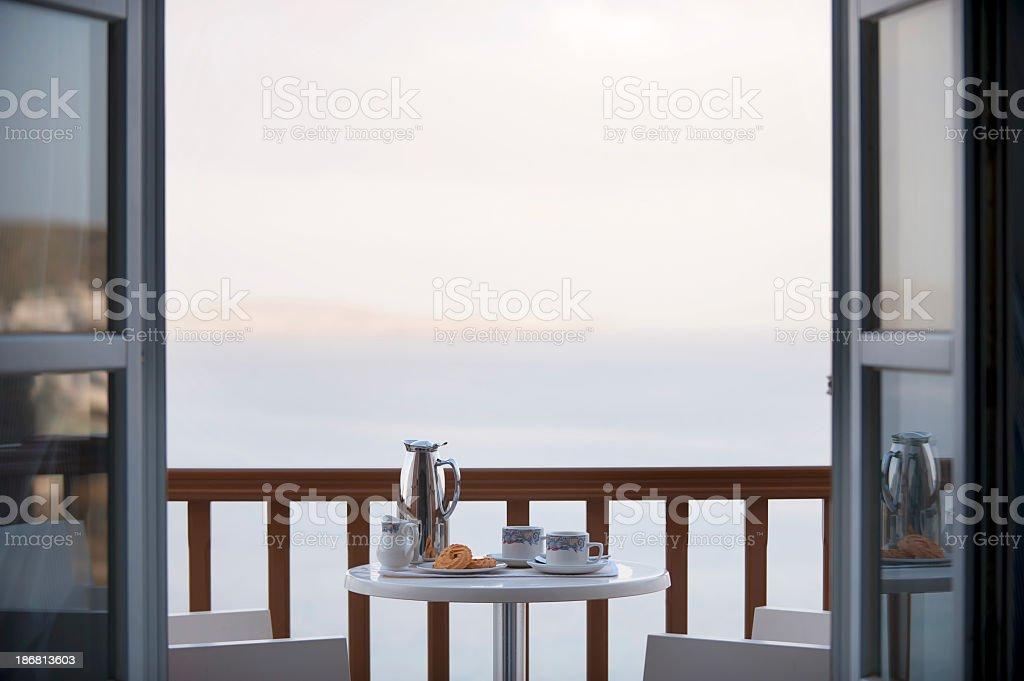 Breakfast on the balcony stock photo