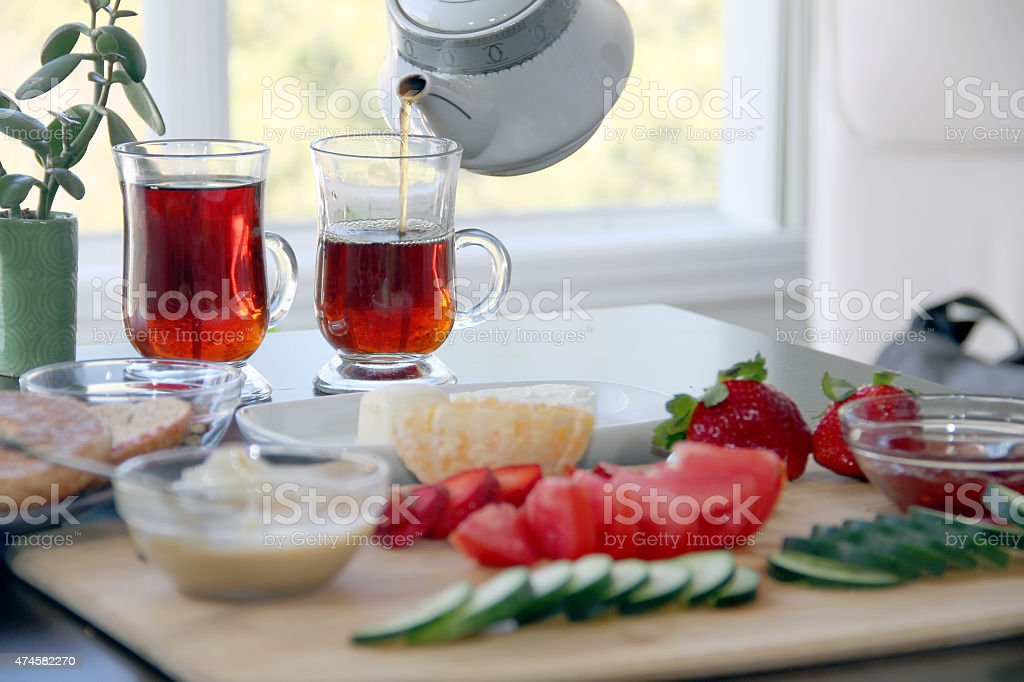 Breakfast on the table ready to  be eaten stock photo