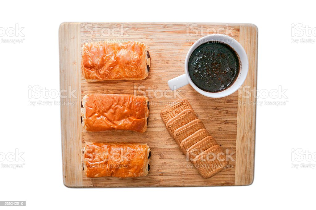 Breakfast on wooden surface royalty-free stock photo