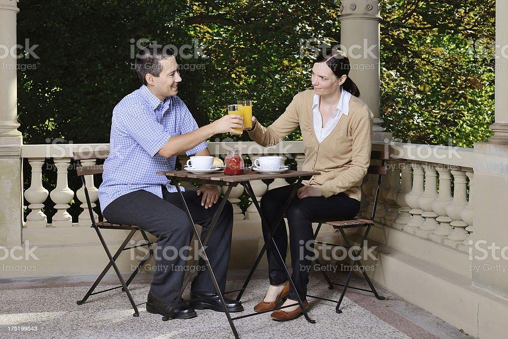 Breakfast outdoors royalty-free stock photo
