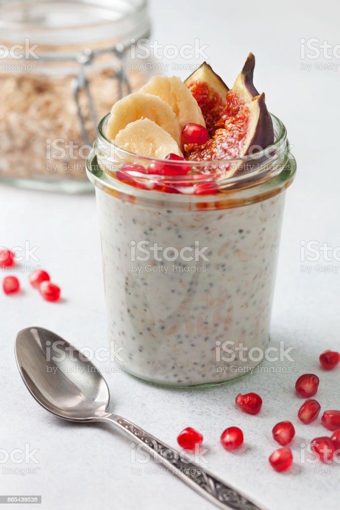 breakfast. overnight oatmeal stock photo