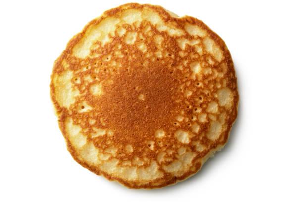 白い背景で隔離の朝食: パンケーキ - パンケーキ ストックフォトと画像
