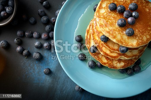 Breakfast: Pancakes, Syrup and Blueberries Still Life