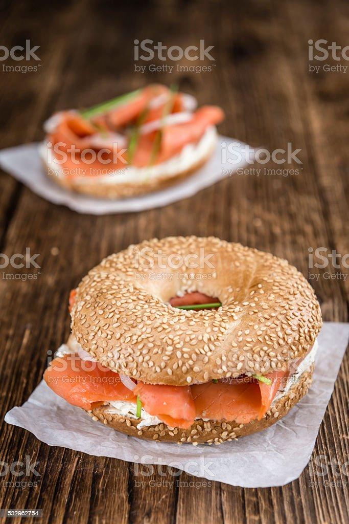 Breakfast (Bagel with Salmon) stock photo