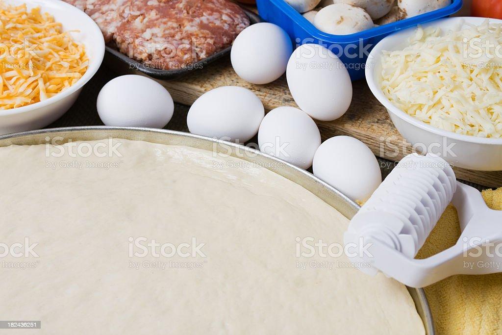 Breakfast Pizza Ingredients royalty-free stock photo