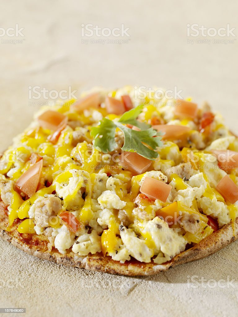 Breakfast Pizza on Pita Bread stock photo