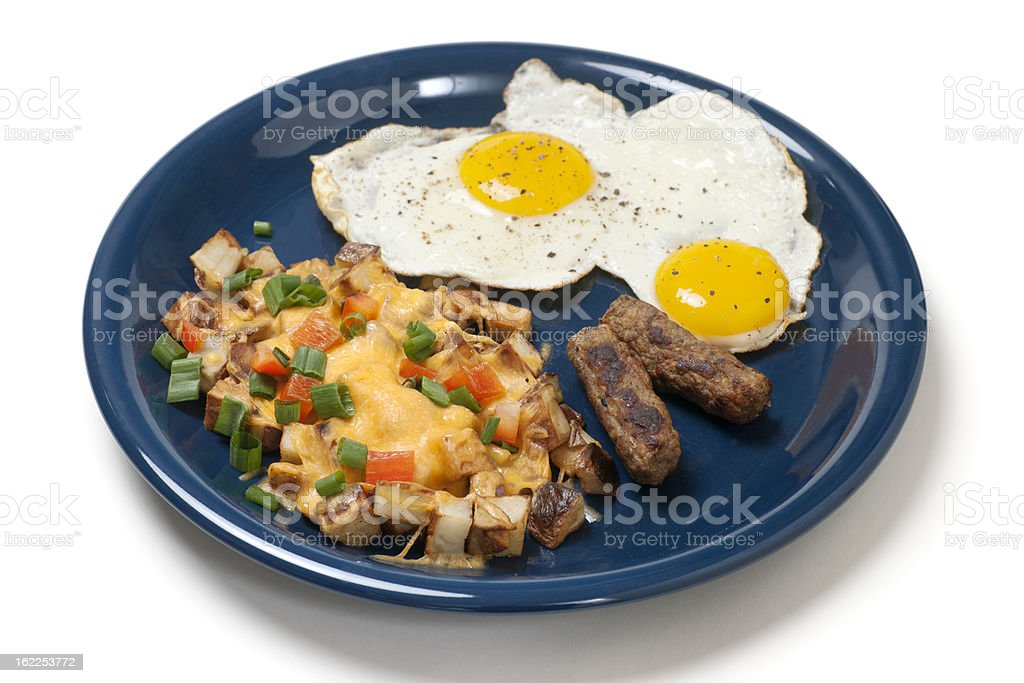 Breakfast Plate of Eggs, Potatoes, and Sausage royalty-free stock photo