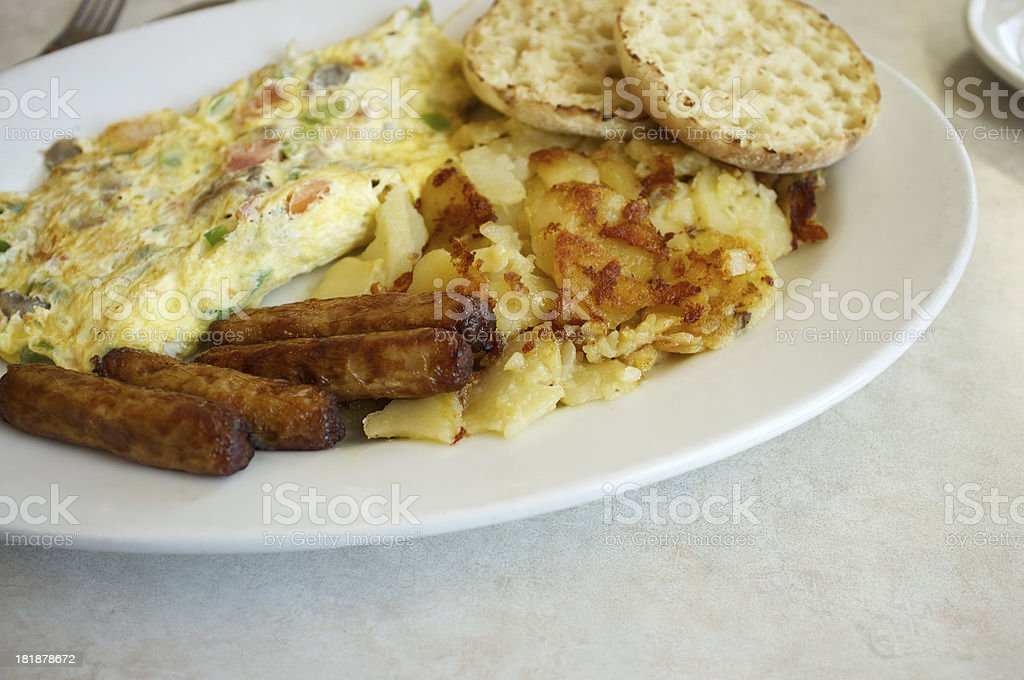 Breakfast plate of sausage, eggs, english muffins and potatoes royalty-free stock photo