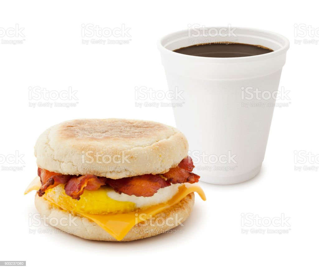 Breakfast Sandwich and Coffee stock photo