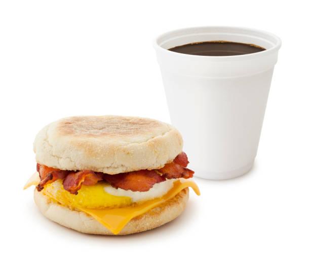 Breakfast Sandwich and Coffee stock photo