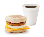 Sausage breakfast sandwich with take out coffee isolated on white (excluding the shadow)