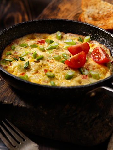 Breakfast Sausage Peppers And Cheese Baked Omelet Stock ...