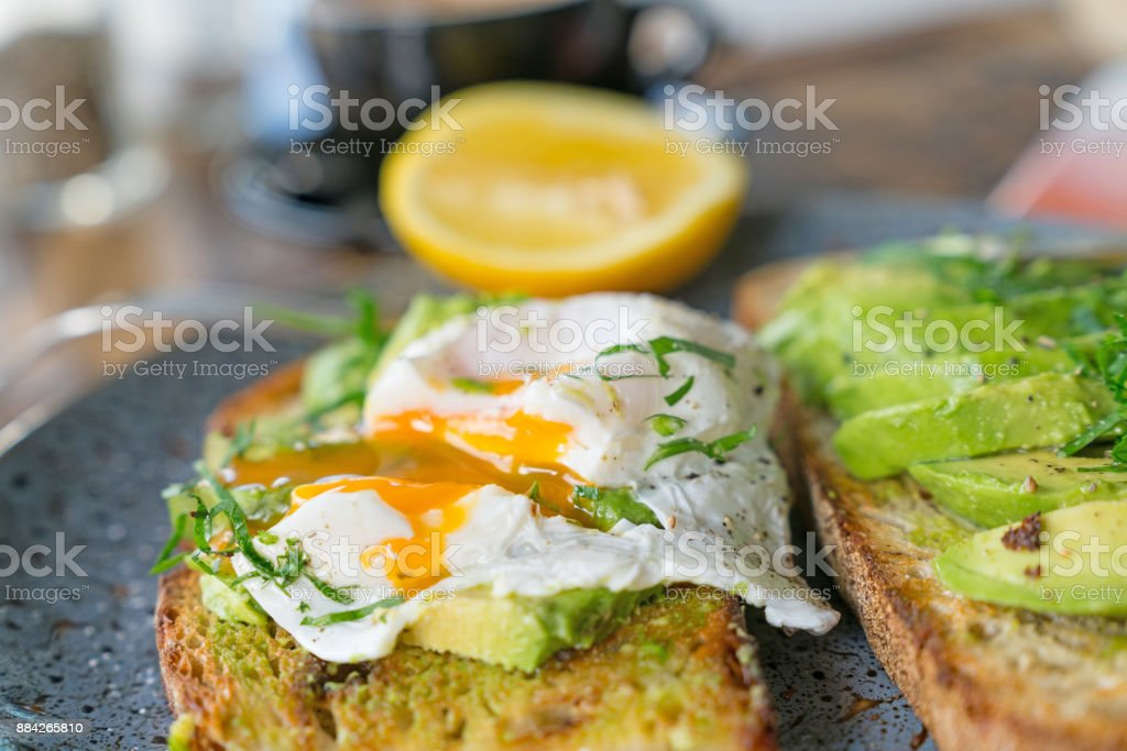 Breakfast served and started stock photo
