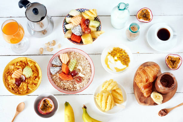 breakfast set with exotic fruits. - sport set competition round stock photos and pictures
