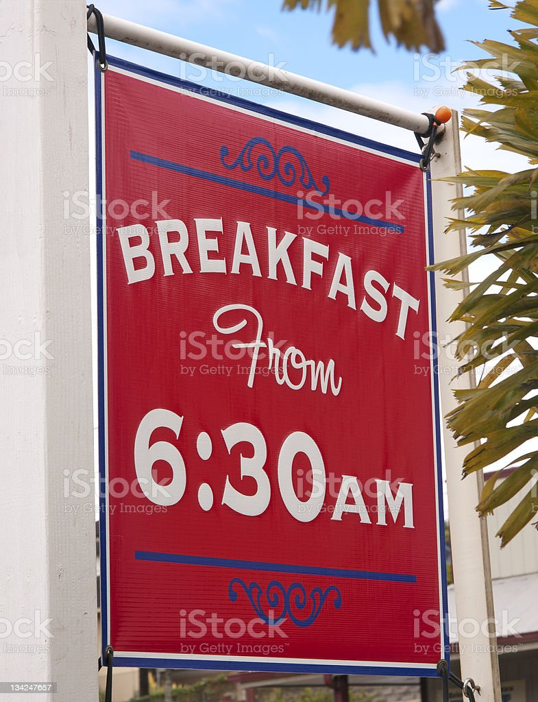 Breakfast sign stock photo