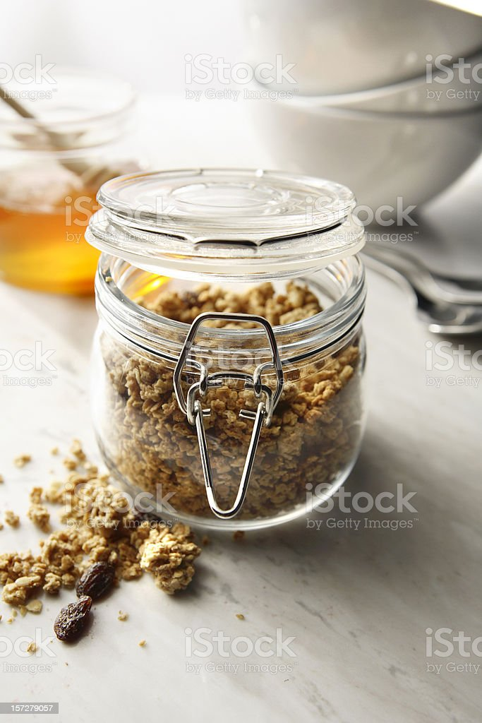 Breakfast Stills: Cereals in Preserving jar royalty-free stock photo