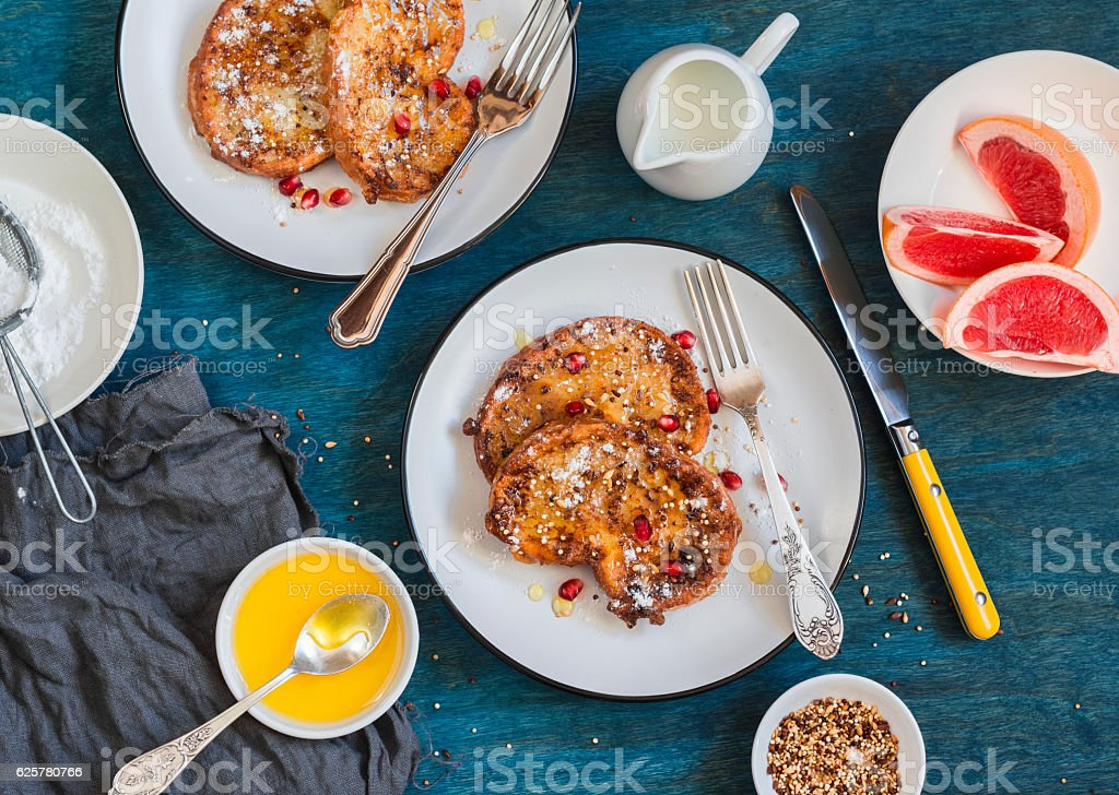 Breakfast table - caramel cinnamon french toast . stock photo