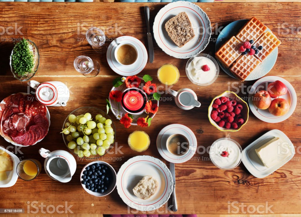 Breakfast table – Overhead view stock photo