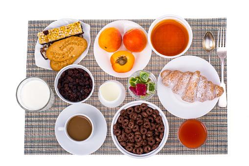 840939766 istock photo Breakfast table with croissant, muesli, milk, honey and fruits 816015240