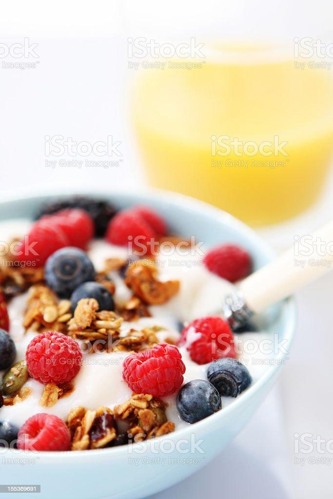 breakfast table with yogurt royalty-free stock photo