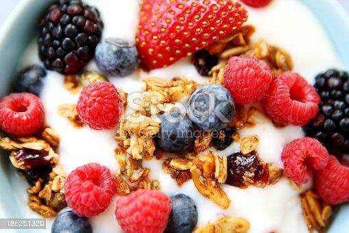 breakfast table with yogurt