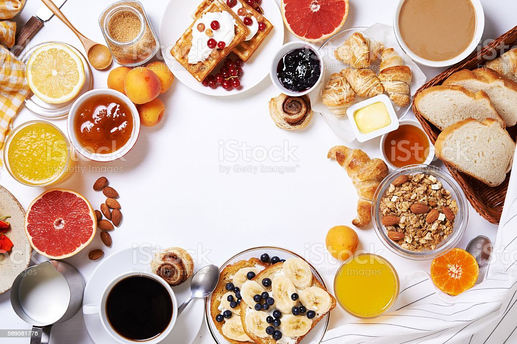 breakfast table.top view stock photo