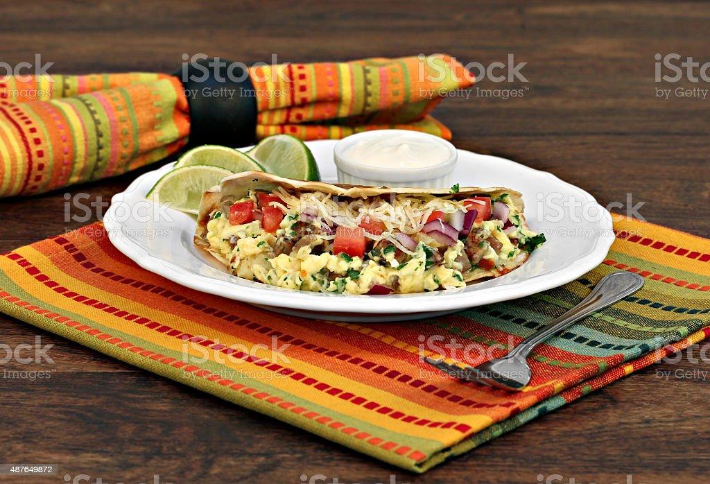 Breakfast Taco of eggs, cheese, onion and churizo stock photo