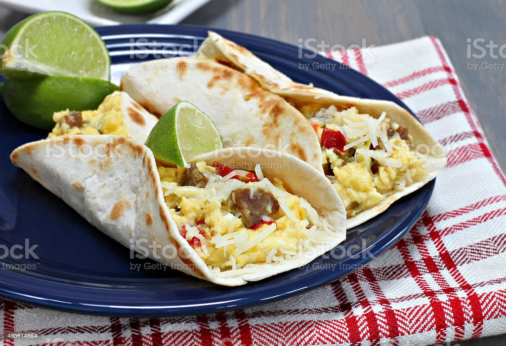 Breakfast tacos with sausage, cheese and peppers stock photo