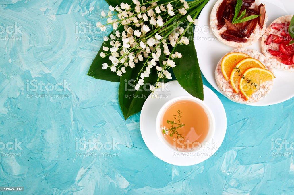 Breakfast tea, rice crispbread royalty-free stock photo
