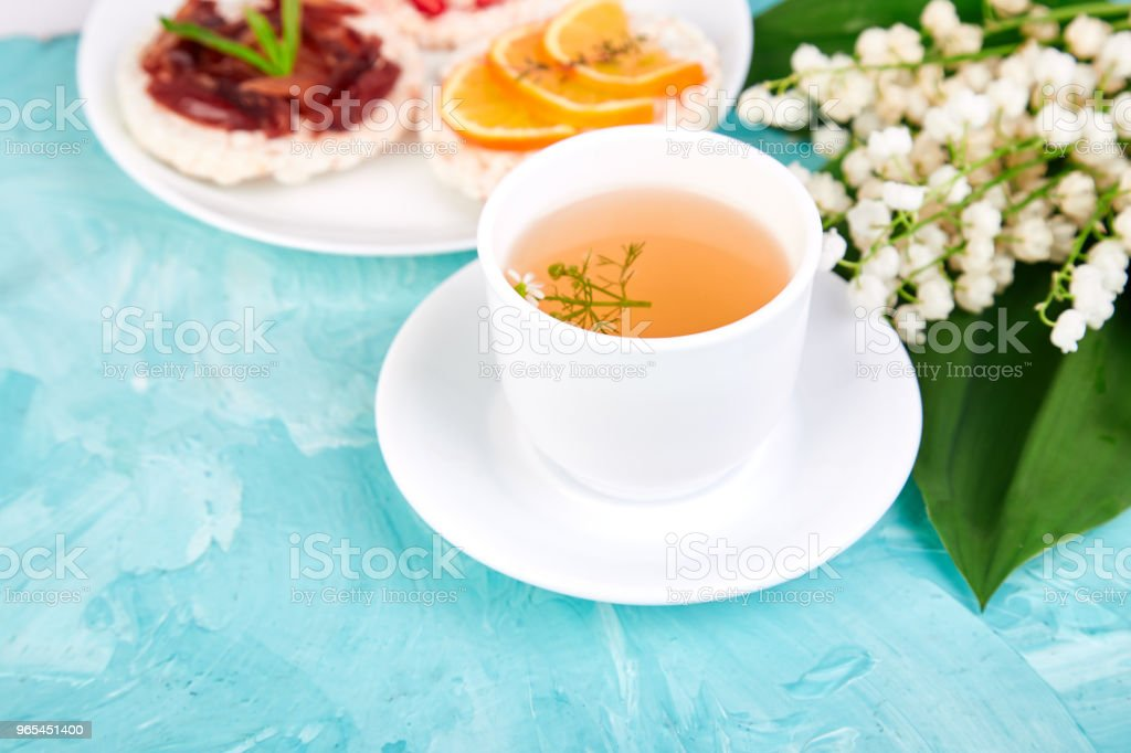 Breakfast tea, rice crispbread royalty-free stock photo