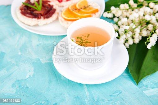 Breakfast Tea Rice Crispbread Stock Photo & More Pictures of Above