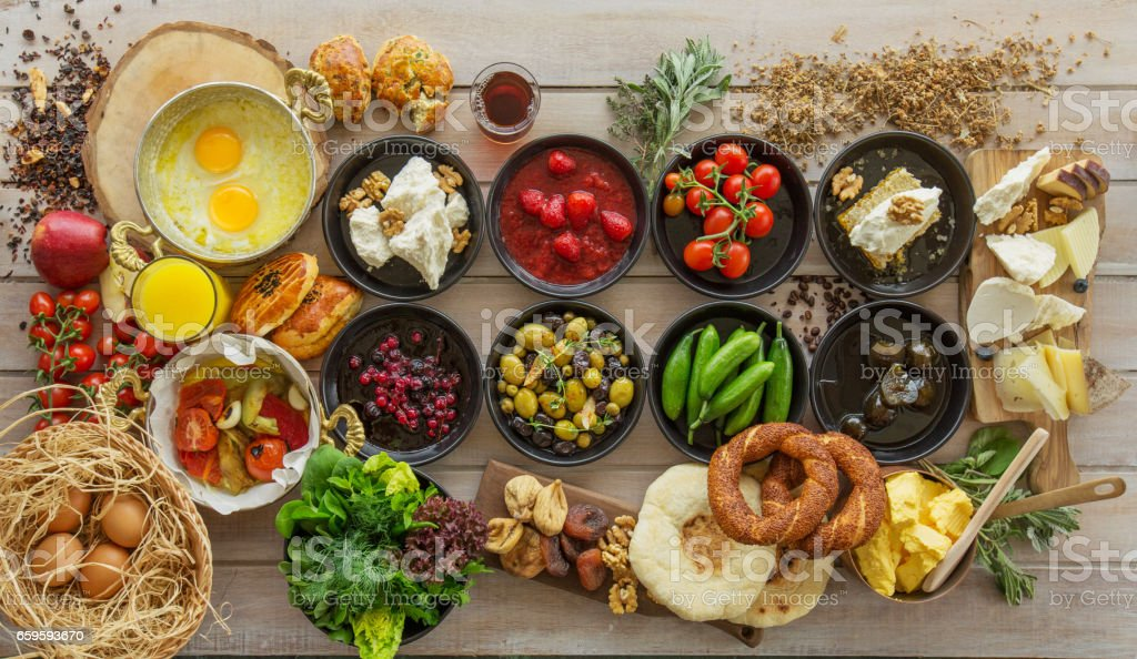 Breakfast time on wooden table stock photo
