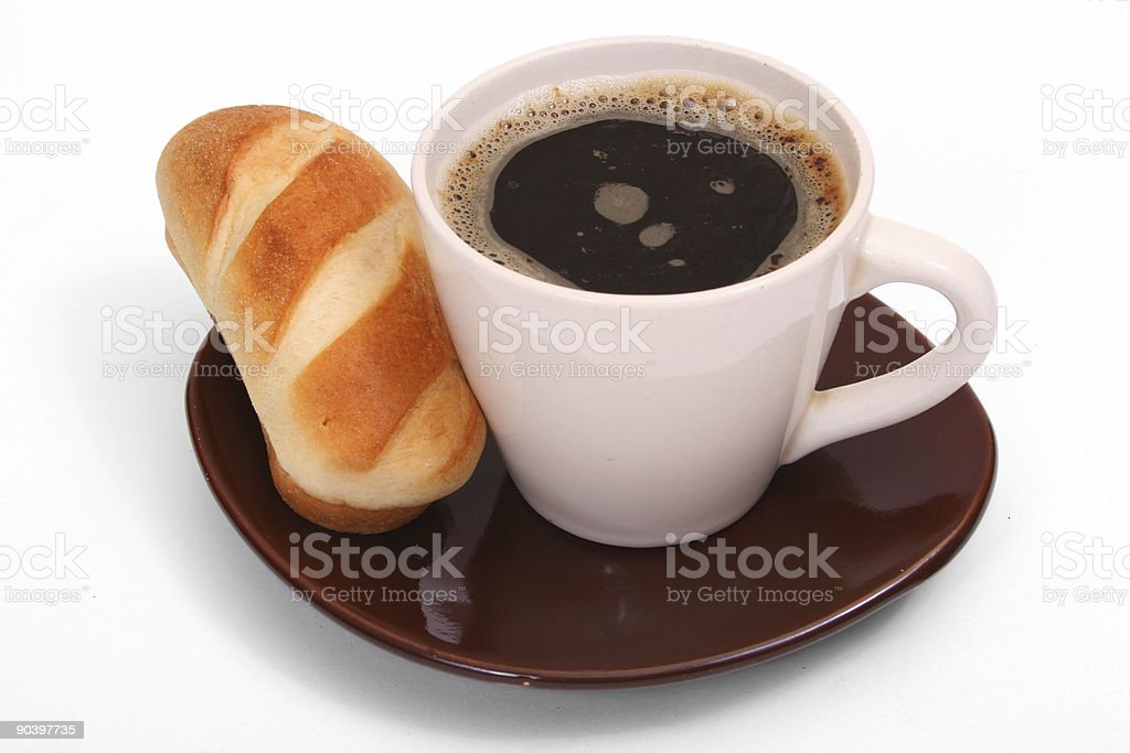 Breakfast time - roll and coffee royalty-free stock photo