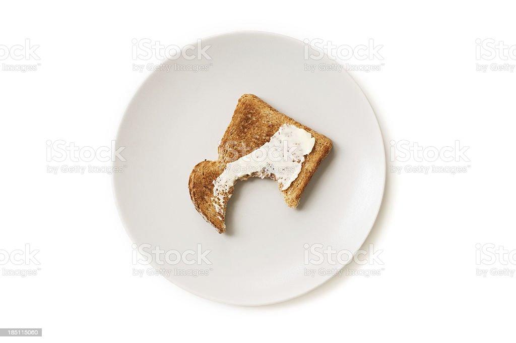 Breakfast toast on a plate stock photo